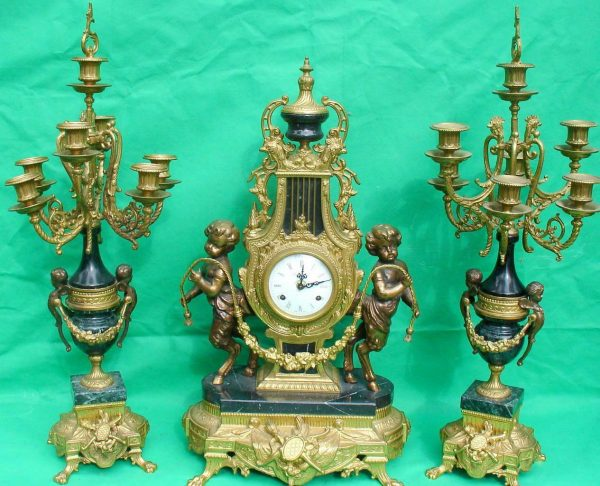 IMPERIAL-ITALIAN-CANDELABARAS-GARNITURE-BRONZE-CHERUB-8-DAY-ORMOLU-LYRE-CLOCK-283752984226