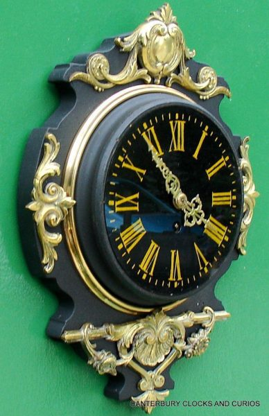 JAPY-FRERES-8-DAY-ANTIQUE-FRENCH-EBONISED-ORMOLU-CARTEL-CLOCK-282669095927-2