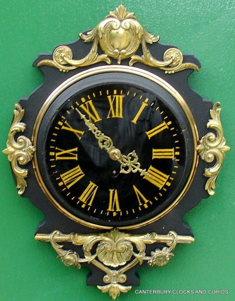 JAPY-FRERES-8-DAY-ANTIQUE-FRENCH-EBONISED-ORMOLU-CARTEL-CLOCK-282669095927-4