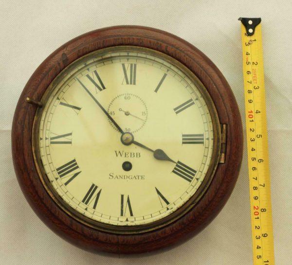 RARE-MINIATURE-ANTIQUE-ENGLISH-MAHOGANY-8-DAY-7-FUSEE-DIAL-CLOCK-WEBB-SANDGATE-283409829557-2
