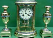 S-MARTI-ANTIQUE-FRENCH-CLOISONNE-8-DAY-OVAL-4-GLASS-CRYSTAL-REGULATOR-CLOCK-SET-283569713627-10
