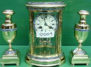 S-MARTI-ANTIQUE-FRENCH-CLOISONNE-8-DAY-OVAL-4-GLASS-CRYSTAL-REGULATOR-CLOCK-SET-283569713627