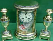S-MARTI-ANTIQUE-FRENCH-CLOISONNE-8-DAY-OVAL-4-GLASS-CRYSTAL-REGULATOR-CLOCK-SET-283569713627-9
