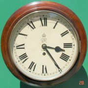 WWII-GEORGE-VI-GPO-8-DAY-ENGLISH-MAHOGANY-FUSEE-DIAL-CLOCK-283569702217