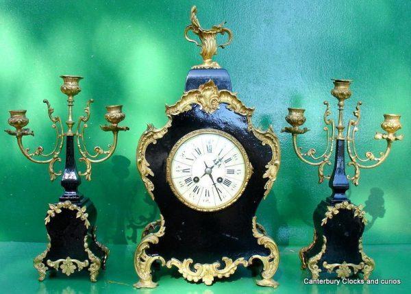 ANTIQUE-JAPY-FRERES-8-DAY-ORMOLU-ROCOCO-BOULLE-TYPE-CANDELLABRAS-CLOCK-SET-1880c-282542779948