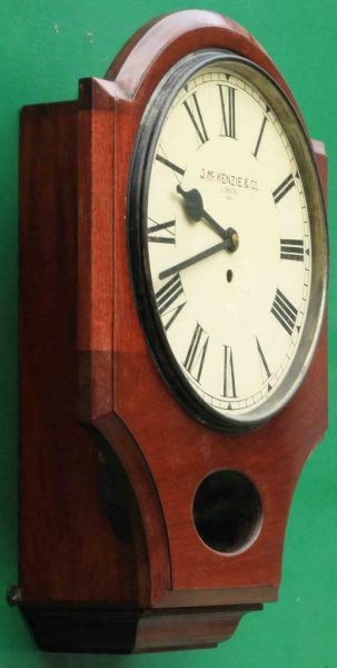 J-MCKENZIE-ANTIQUE-8-DAY-FUSEE-12-DROP-DIAL-MAHOGANY-GALLERY-CASE-WALL-CLOCK-283468465378-3