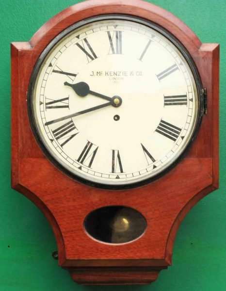 J-MCKENZIE-ANTIQUE-8-DAY-FUSEE-12-DROP-DIAL-MAHOGANY-GALLERY-CASE-WALL-CLOCK-283468465378