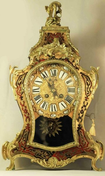 LARGE-ANTIQUE-FRENCH-TWO-TRAIN-8-DAY-LOUIS-XV-STYLE-BOULLE-MANTLE-CLOCK-283367084438