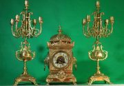 SMARTI-ANTIQUE-FRENCH-8-DAY-2-TRAIN-ROCOCO-MANTLE-CLOCK-SET-WITH-CANDLEABRAS-283578294148