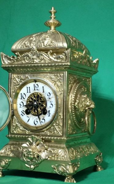 SMARTI-ANTIQUE-FRENCH-8-DAY-2-TRAIN-ROCOCO-MANTLE-CLOCK-SET-WITH-CANDLEABRAS-283578294148-3