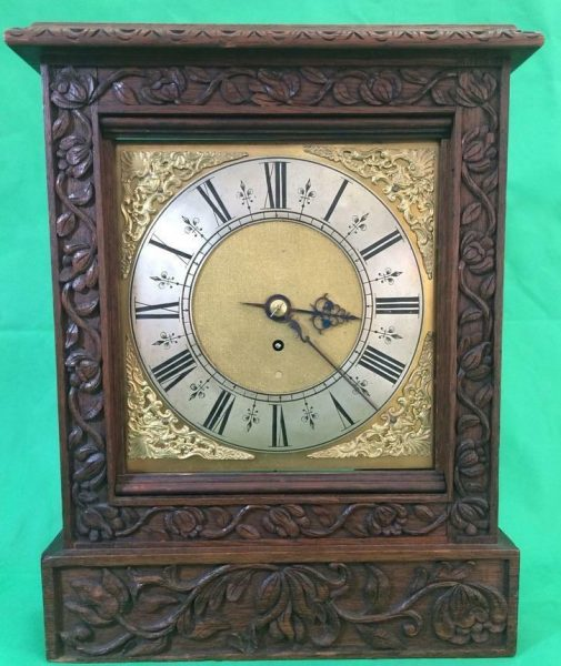ANTIQUE-8-DAY-FUSEE-BRACKET-CLOCK-WITH-TUDOR-STYLE-CASE-AND-ROCOCO-SPANDRELS-283578595769