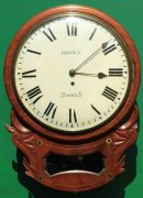 BROWN-OF-NORWICH-ANTIQUE-ENGLISH-8-DAY-FUSEE-MAHOGANY-12-DROP-DIAL-WALL-CLOCK-283638186649