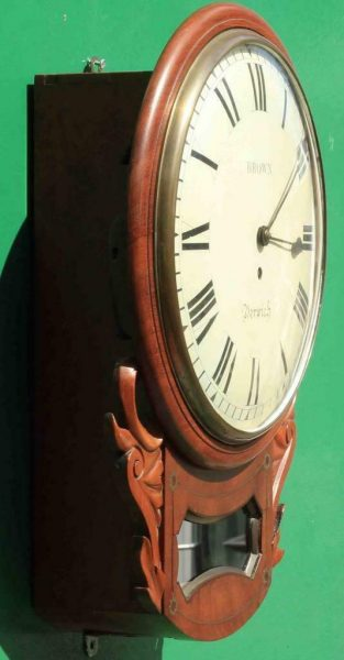 BROWN-OF-NORWICH-ANTIQUE-ENGLISH-8-DAY-FUSEE-MAHOGANY-12-DROP-DIAL-WALL-CLOCK-283638186649-3