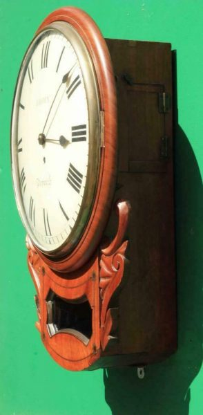 BROWN-OF-NORWICH-ANTIQUE-ENGLISH-8-DAY-FUSEE-MAHOGANY-12-DROP-DIAL-WALL-CLOCK-283638186649-4
