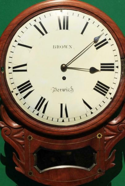 BROWN-OF-NORWICH-ANTIQUE-ENGLISH-8-DAY-FUSEE-MAHOGANY-12-DROP-DIAL-WALL-CLOCK-283638186649-6