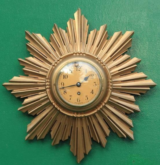 ENGLISH-ART-DECO-8-DAY-GOLD-GILT-SUNBURST-WALL-CLOCK-283298139849