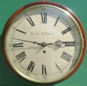 R-W-ELLIOTT-12-CONVEX-DIAL-8-DAY-FUSEE-MAHOGANY-BARREL-CLOCK-283638102619