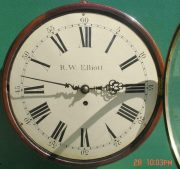R-W-ELLIOTT-12-CONVEX-DIAL-8-DAY-FUSEE-MAHOGANY-BARREL-CLOCK-283638102619-2