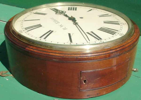 R-W-ELLIOTT-12-CONVEX-DIAL-8-DAY-FUSEE-MAHOGANY-BARREL-CLOCK-283638102619-3