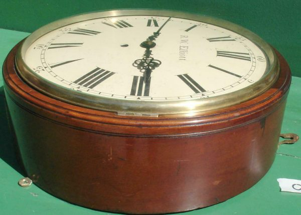 R-W-ELLIOTT-12-CONVEX-DIAL-8-DAY-FUSEE-MAHOGANY-BARREL-CLOCK-283638102619-4